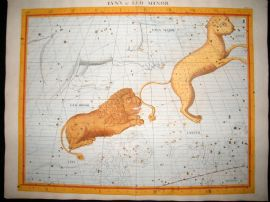 Flamsteed Atlas Coelestis 1781 LG Folio H/Col Celestial Map. Lynx & Leo Minor 18